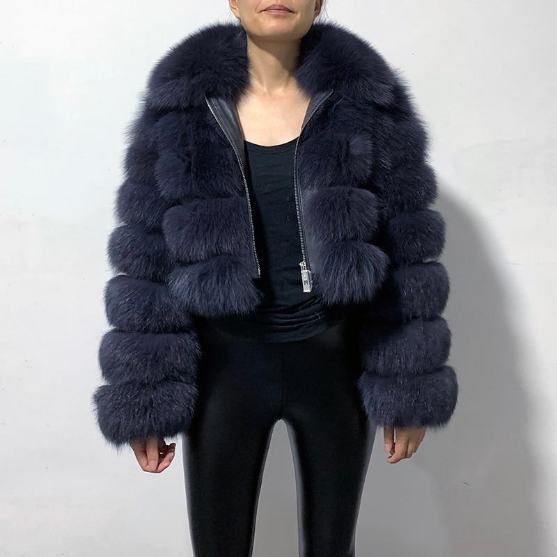 Rf1982B New Arrival Woman's Real Fox Fur Coat Short Style Slim Fit Zipper Fashion Real Fur Jacket