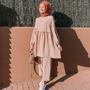 Ramadan Two Piece Set Muslim Women Sets Arab Turkey Islam Solid Tops and Long Pant