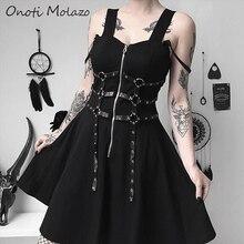 Onoti Molazo Gothic Zipper Black Mini Dress Women Grunge Punk Rock Aesthetic PU Leather Patchwork Slip Summer 2019 Autumn