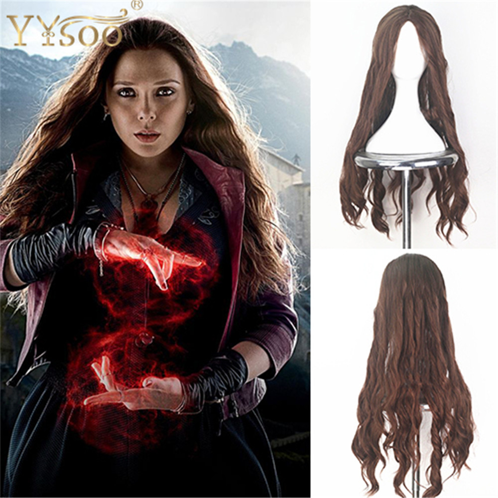 YYsoo Scarlet Witch Cosplay Wigs for Women Synthetic Long Natural Wave Brown Wig with Middle Parting for Girls Halloween Show