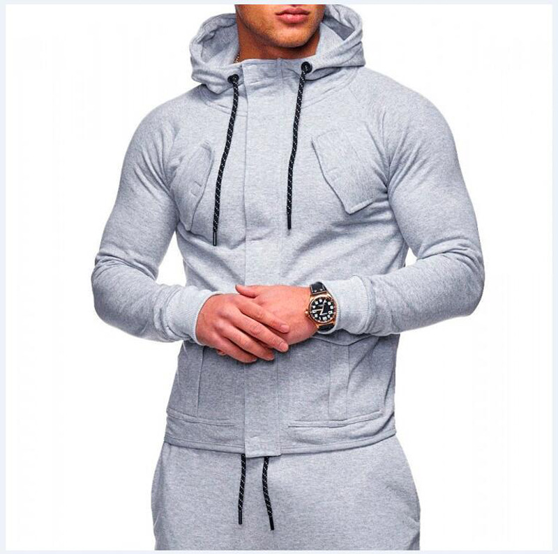 New Men's Sports Suit Fall And Winter Fashion Youth Cardigan Leisure Running Jacket Fitness Hip-hop Jogging Men's Clothes 2019