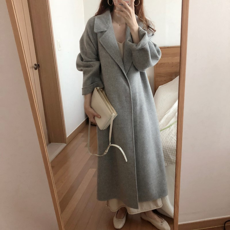 H6cacbd01bfab467481970dba0ab67a73i Winter Fashion Coats Women Wool-blend Coat Lazy Oaf Long Chunky Warm Coat Western Style Fitted Waist Lace-up  Loose Coat