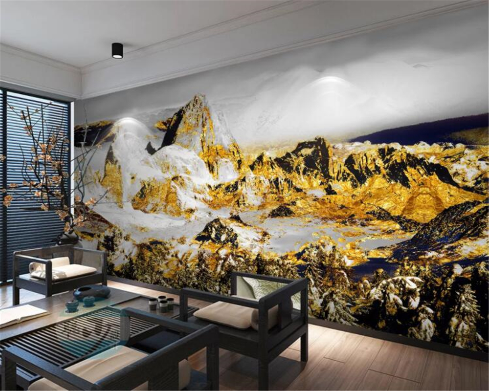 Us 8 85 41 Off Beibehang Custom Wallpaper Photo Golden Rich Snow Mountain Tv Sofa Background Wall Painting Living Room Bedroom 3d Wallpaper In