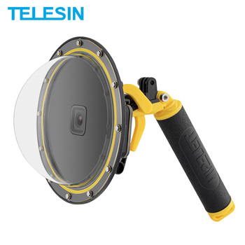 TELESIN 30M Waterproof 6'' Dome Port Underwater Housing Case Cover With Floating Handle Trigger For GoPro Hero 9 8 7 6 5 Black 1