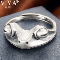 wgoud Frog Rings,Frog Open Rings for Women Silver Vintage Cute Animal Finger Ring Personalized Custom Name Fashion Party Jewelry Gifts