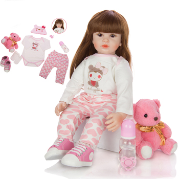 24 Inch Bebe doll reborn toddler toys 60 cm Silicone Soft Realistic Princess Girl Baby Doll For Sale dress up DIY doll toys gift