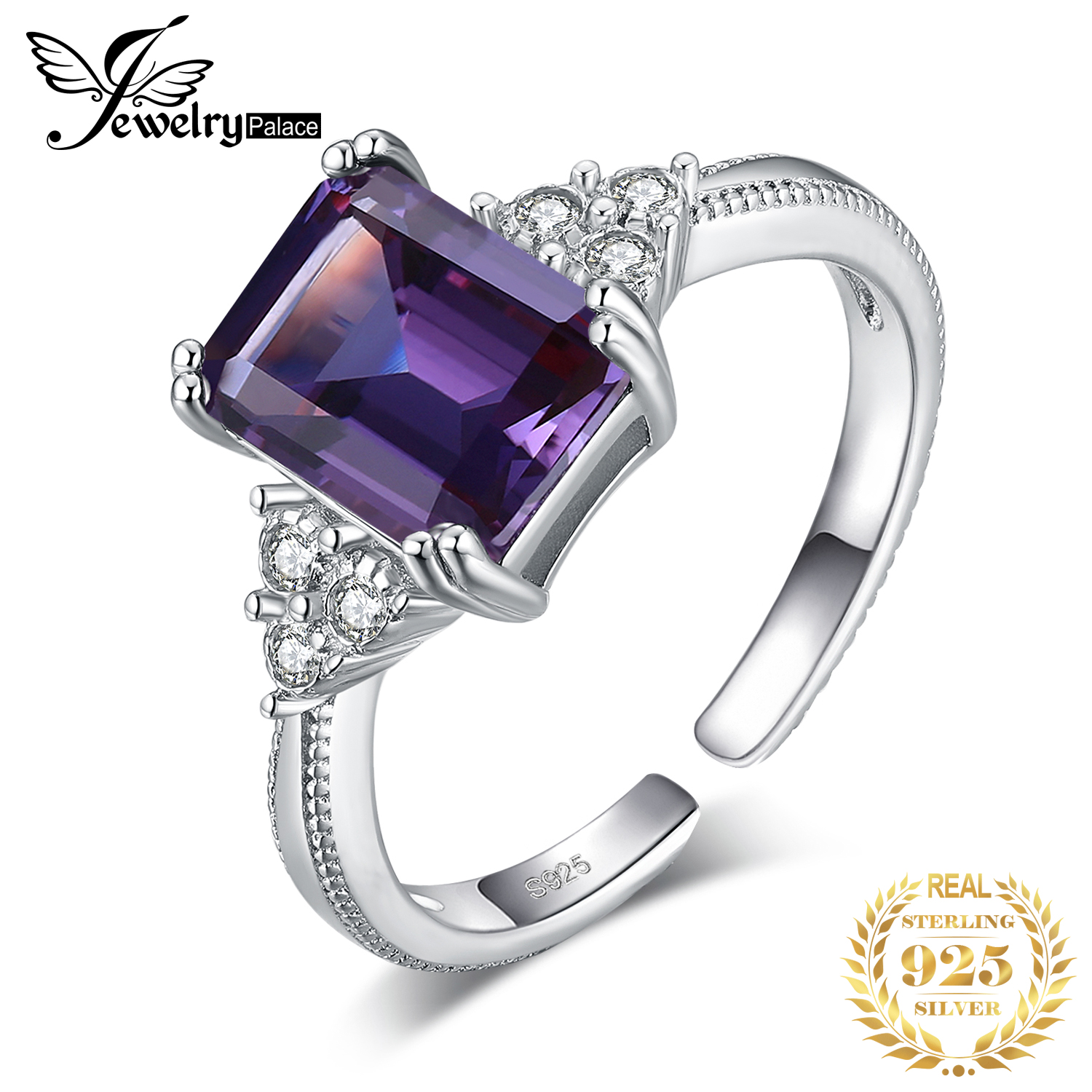 JewelryPalace Created Alexandrite Sapphire Ring 925 Sterling Silver Rings For Women Engagement Ring Silver 925 Gemstones Jewelry