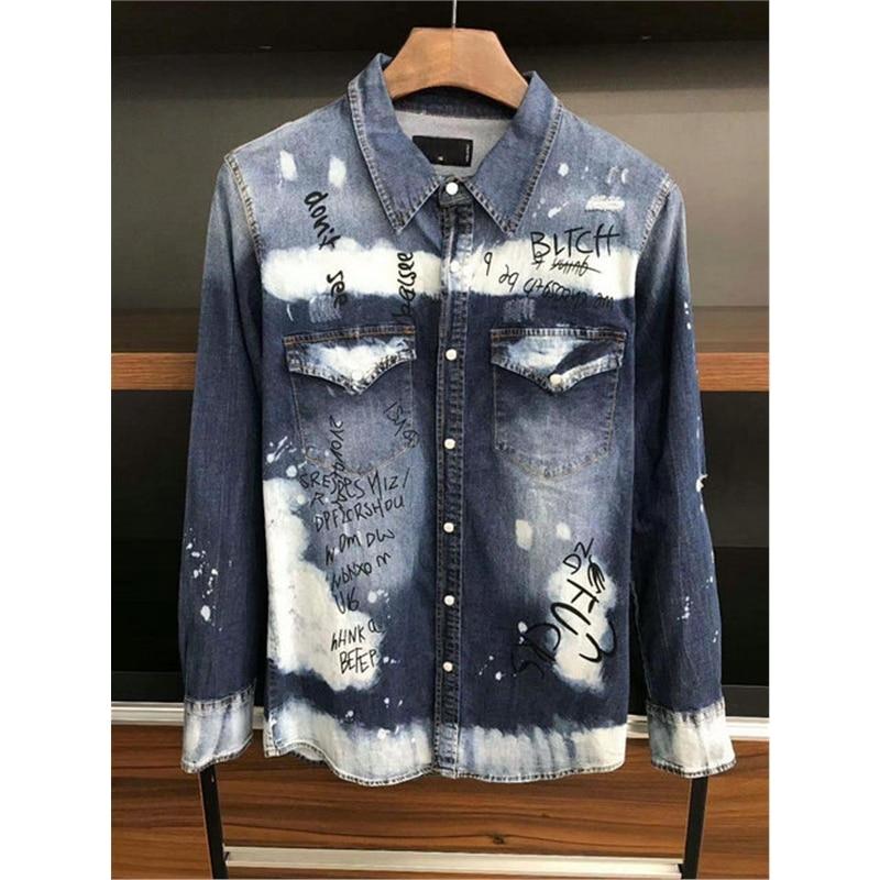 Верхняя одежда для детей, Camisa Masculina, 2020 весенние мужские летние приталенные повседневные рубашки джинсы в стиле «хип-хоп» рваные джинсы руба...