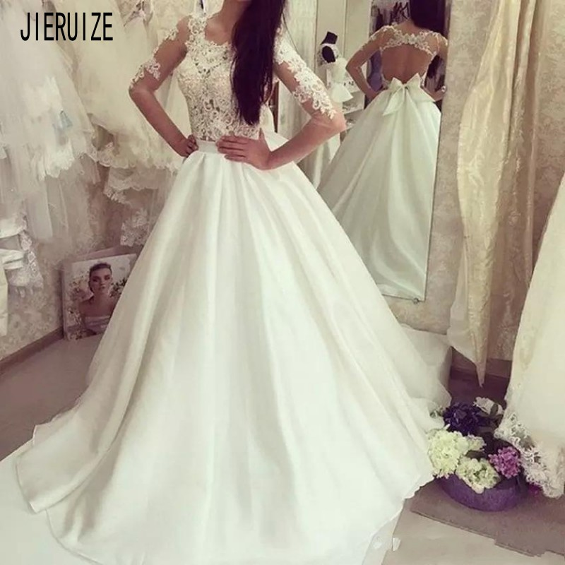 JIERUIZE Elegant Backless Wedding Dresses Scoop Neck Lace Appliques long Sleeves Bridal Gowns Bride Dress robe de mariee