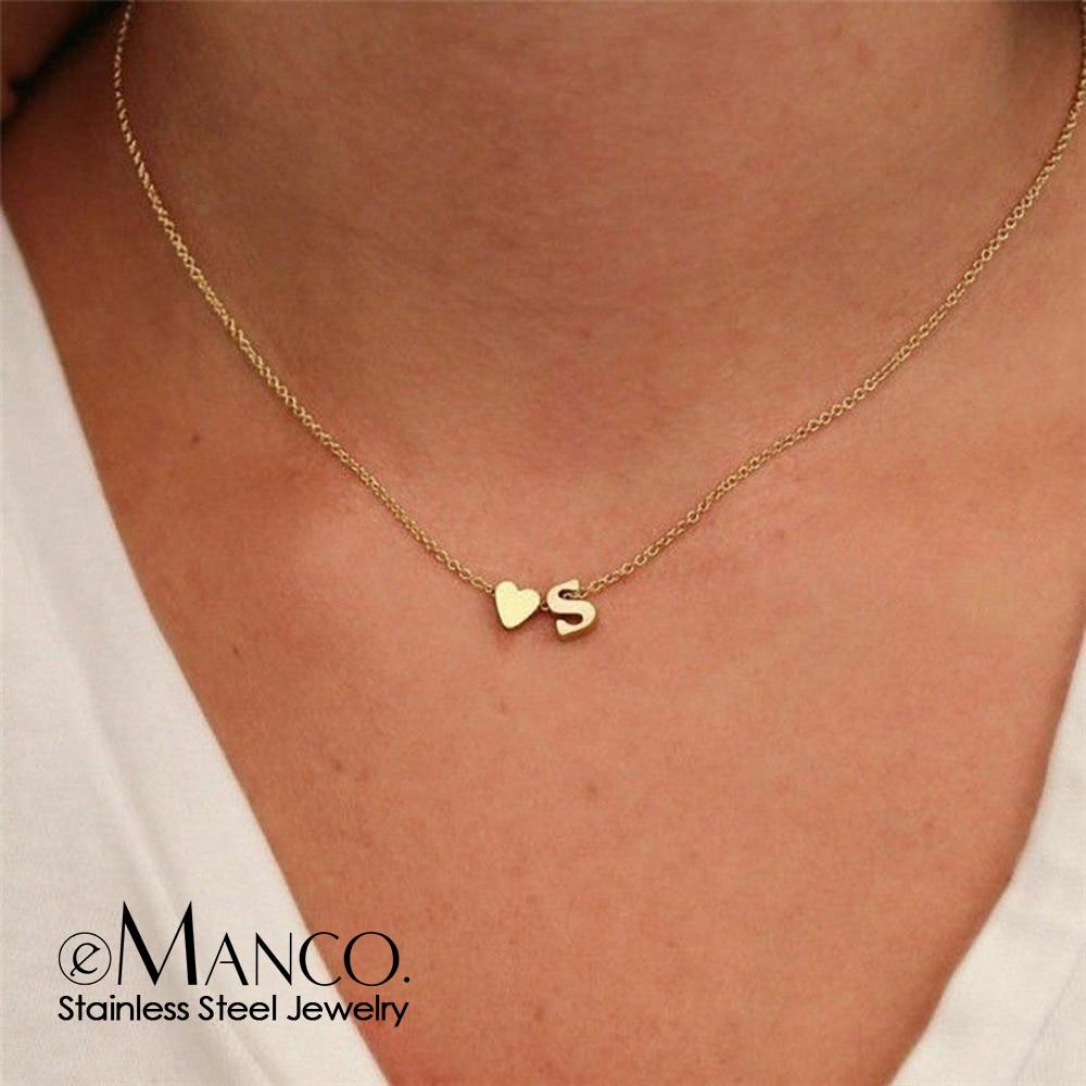 Женское колье чокер eManco, золотое ожерелье из нержавеющей стали 316L, колье с сердечками и буквами, ювелирное изделие на заказ|Колье|   | АлиЭкспресс