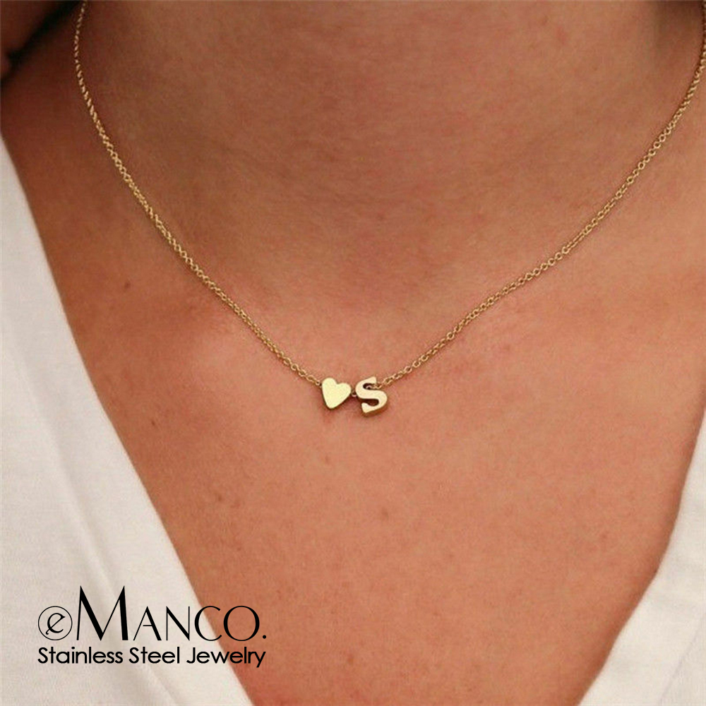 eManco gold stainless steel 316L initial necklace women chain choker DIY heart letter necklace for woman custom name jewelry
