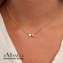 EManco – collier avec initiales en acier inoxydable pour femme, bijou doré, chaîne ras du cou bricolage cœur, personnalisé, DIY, 316L