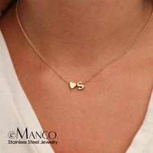 Initial Necklace Name Jewelry Choker Diy Women Chain Heart-Letter Custom Gold Stainless-Steel-316l