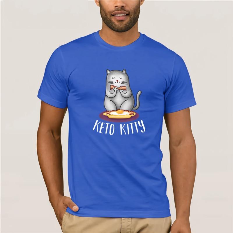 Hot men's fun casual print T-shirt Keto Kitty Baseball t shirt Fashion T Shirt 100% Cotton
