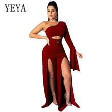 YEYA Retro New Arrival Sexy One Shoulder Long Sleeve Loose Jumpsuits Elegant High Split Hollow Out Women Rompers Playsuits
