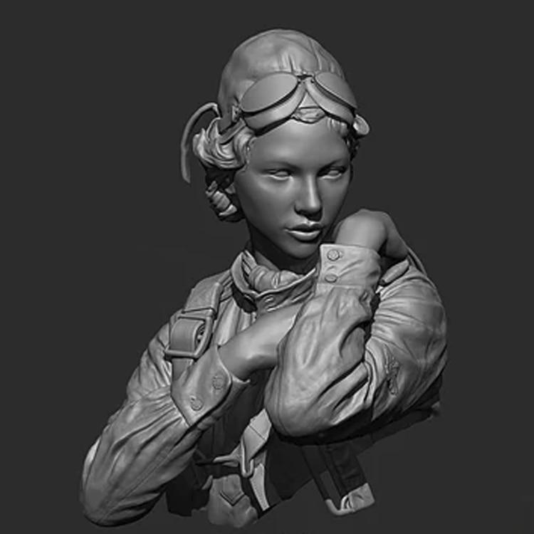 1/10 Resin Bust Russian Female Pilot Of World War II Bust Kit  Unpainted X246G