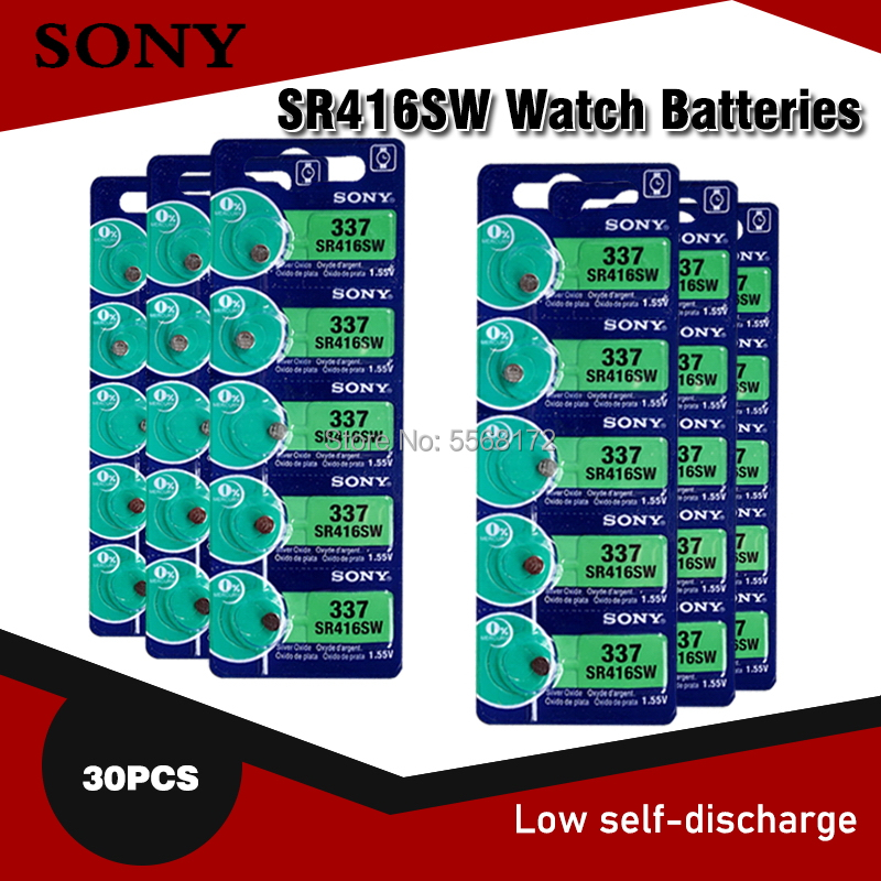 30pc Sony Original 337 SR416SW 1.55V Silver Oxide Watch Battery SR416SW 337 LR416 SB-A5 Button Coin Cell MADE IN JAPAN