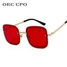 OEC CPO Unisex Luxury Rimless Sunglasses Women 2019 Fashion Famous Square Ladies Oversized Sun Glasses For Female Gafas O254