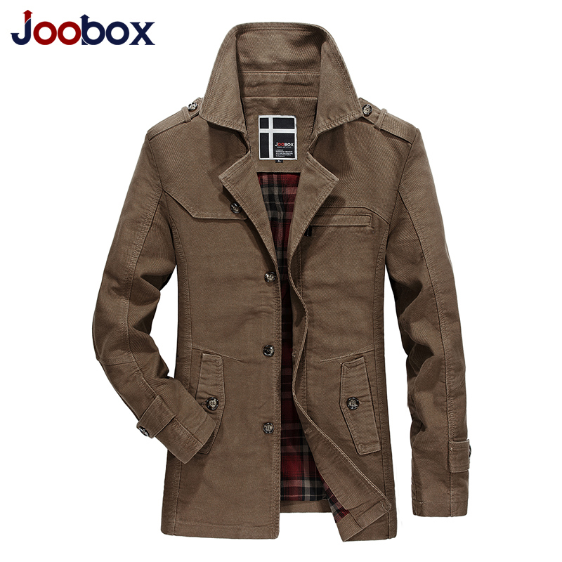 Joobox New Men Fashion Jacket Coat Spring Brand Men's Casual Fit Wild Overcoat Jacket Solid Color Trench Coat Male