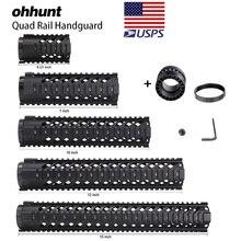"Ohhunt טקטי 4 ""7"" 10 ""12"" 15 ""Quad Rail Handguad M4 AR15 M16 רכבת הר Picatinny רכבת סוג Handguard RAS"