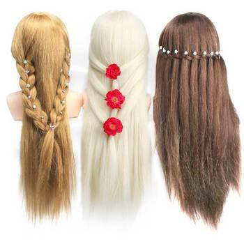 Weibliche styling maniquin ausbildung puppe kopf mit 70 cm lange mix menschliches haar und schulter dummy puppe barber haar kopf
