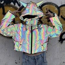 Detachable winter short reflective jacket women luminous casual coat thick loose