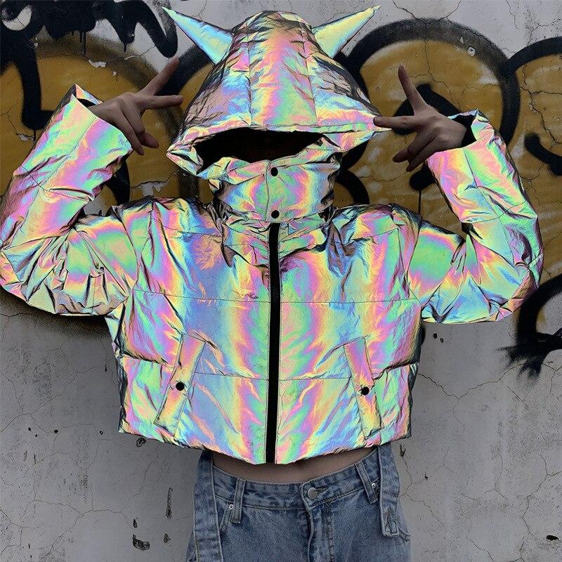 Detachable Winter Short Reflective Jacket Women Luminous Casual Coat Thick Loose Glowing Parka Hip Pop Hoodies Warm Streetwear
