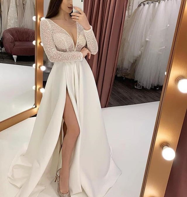 Sexy V Neck Bride Gown Beach Wedding Dresses 2019 Illuson Tulle Applique Long Sleeves Bride Gown Vestido De Noiva