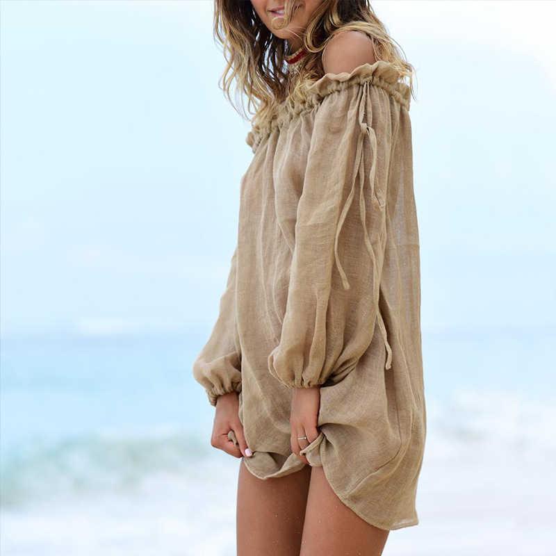 Vestido de playa con hombros descubiertos, pareo de Bikini, pareo liso, pareo de baño, ropa de playa de manga larga, Túnica femenina atada, bañadores para verano
