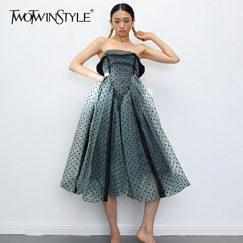 TWOTWINSTYLE Vintage Dot Dresses Female Square Collar Sleeveless Spaghetti Strap High Waist Patchwork Mesh Organza Dress Women