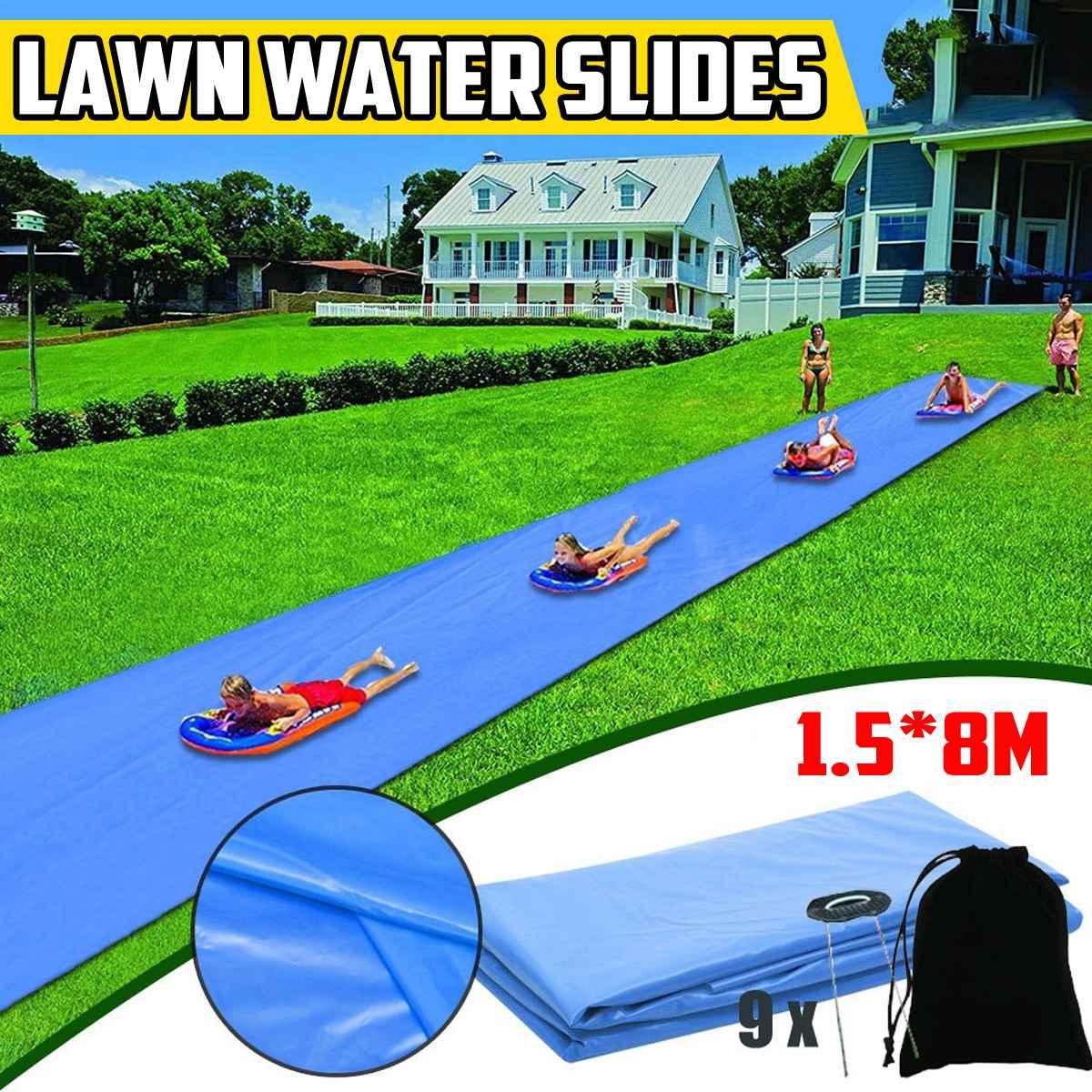 8M Surf Water Slide Mat Lawn Water Slide For Children Summer Pool Games Toys Backyard Outdoor Water Skater