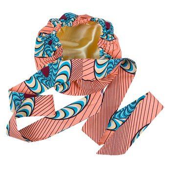 Afrykański nadruk satynowa czapka z długimi wstążkami Wrap dwuwarstwowa chusta na głowę wzór Ankara kobiety osłona na włosy duży rozmiar przywieszka do włosów Cap tanie i dobre opinie BintaRealWax CN (pochodzenie) COTTON Afrykański Headtie WOMEN Odzież afryka Tradycyjny odzieży wyb636 Floral Multi-Color