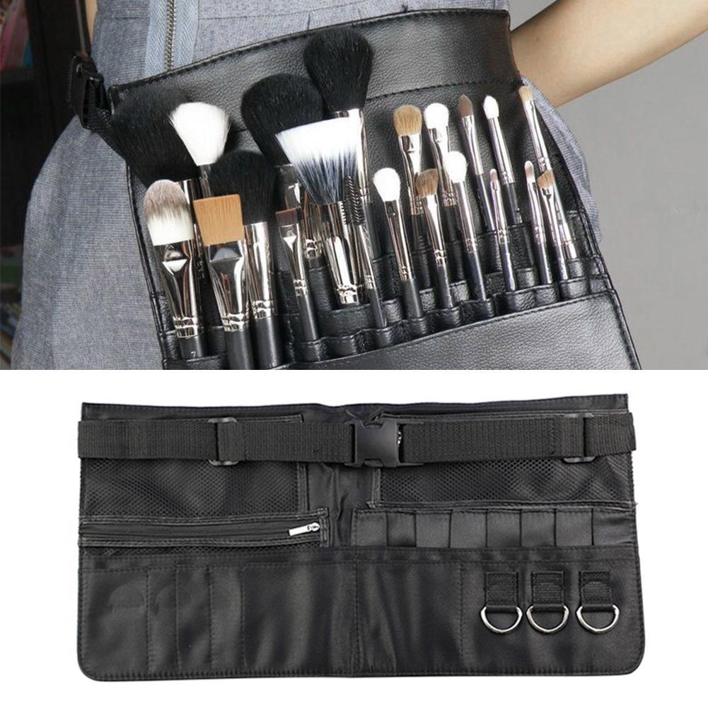 Makeup Storage Bag PU Makeup Brush Belt Bag Black Lazy Carry-on Cosmetic Bag Makeup Artist Zipper Storage Bag Makeup Tools