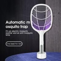 2 In 1 Elektronische Moskito Mörder Lampe 3000V LED Licht Elektrische Moskito-klatsche Zapper USB Aufladbare Sommer Insekten Falle