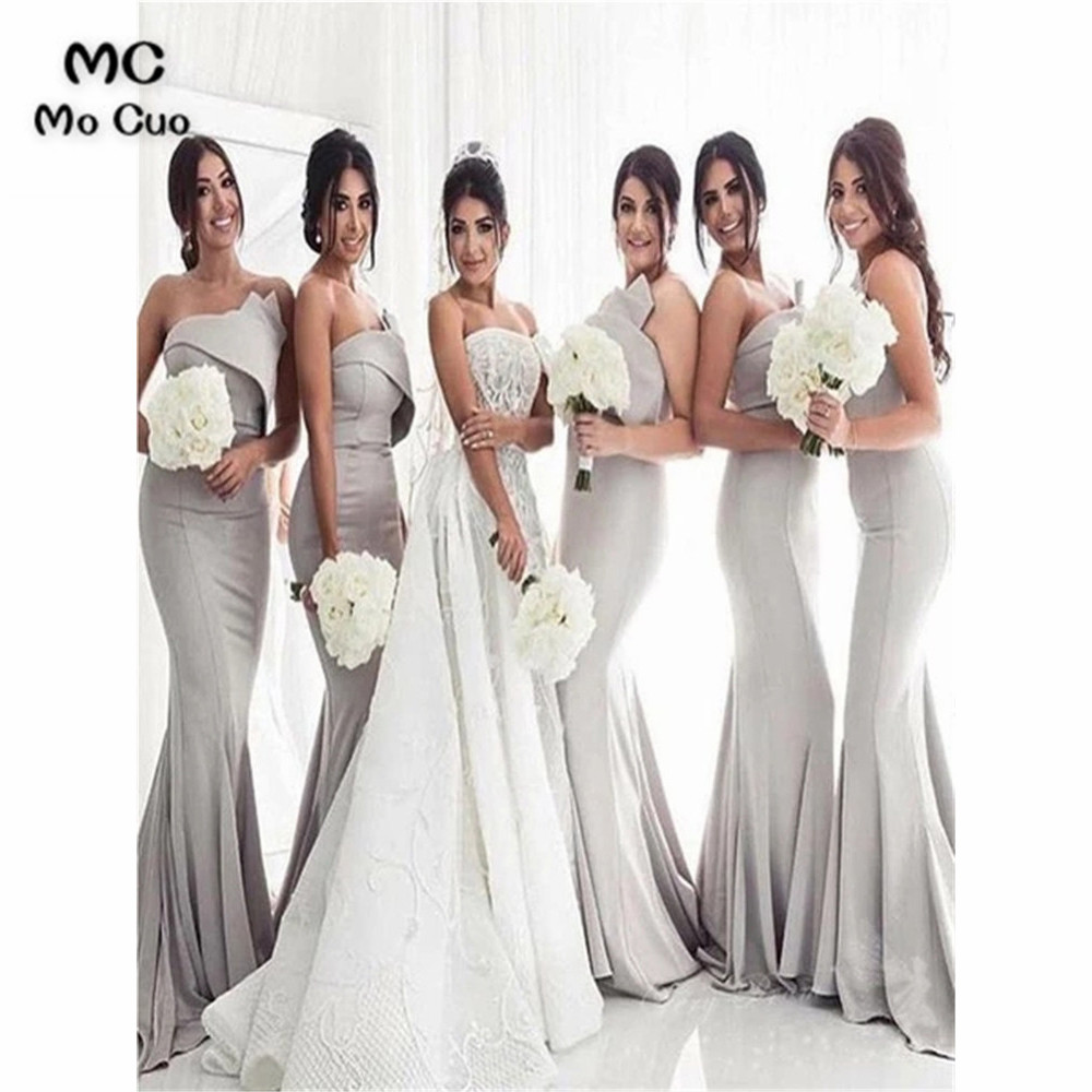 New Strapless Grey Mermaid Bridesmaid Dresses Long Wedding Party Dress Pleat Elastic Satin Prom Bridesmaid Dresses for women