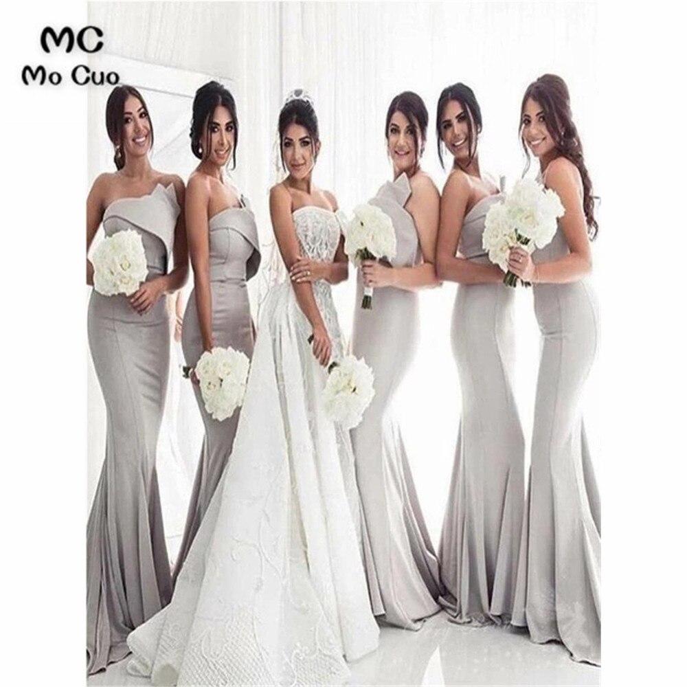 New Strapless Grey Mermaid   Bridesmaid     Dresses   Long Wedding Party   Dress   Pleat Elastic Satin Prom   Bridesmaid     Dresses   for women