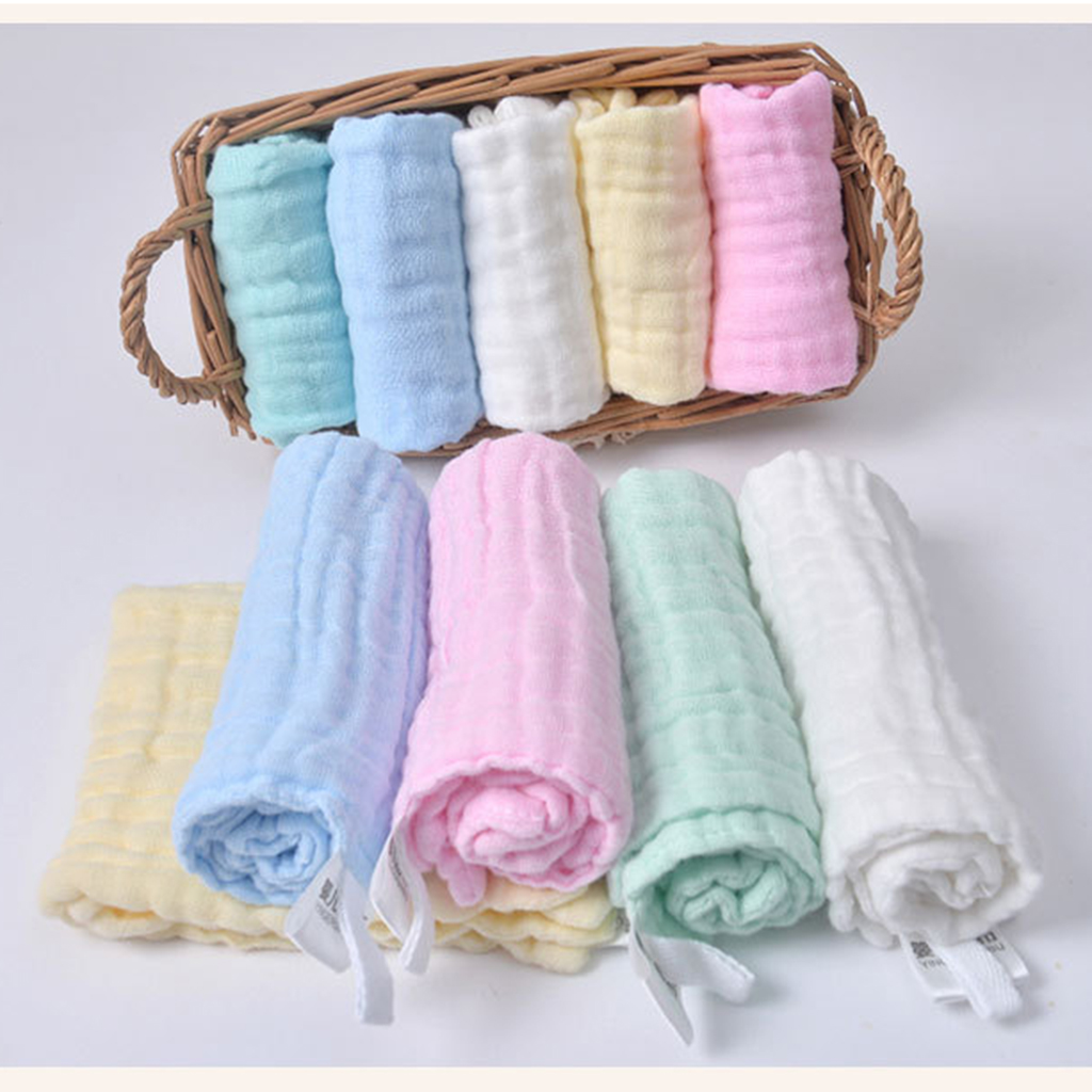 Pure Cotton Infant Face Hand Bath Saliva Towel Baby Bibs Handkerchief Infant Towel Face Towel Hand Bathing Solid Color