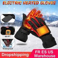 Esporte ao ar livre inverno aquecido luvas de esqui à prova dwaterproof água elétrica motocicleta bateria fibra carbono mão aquecimento quente luvas