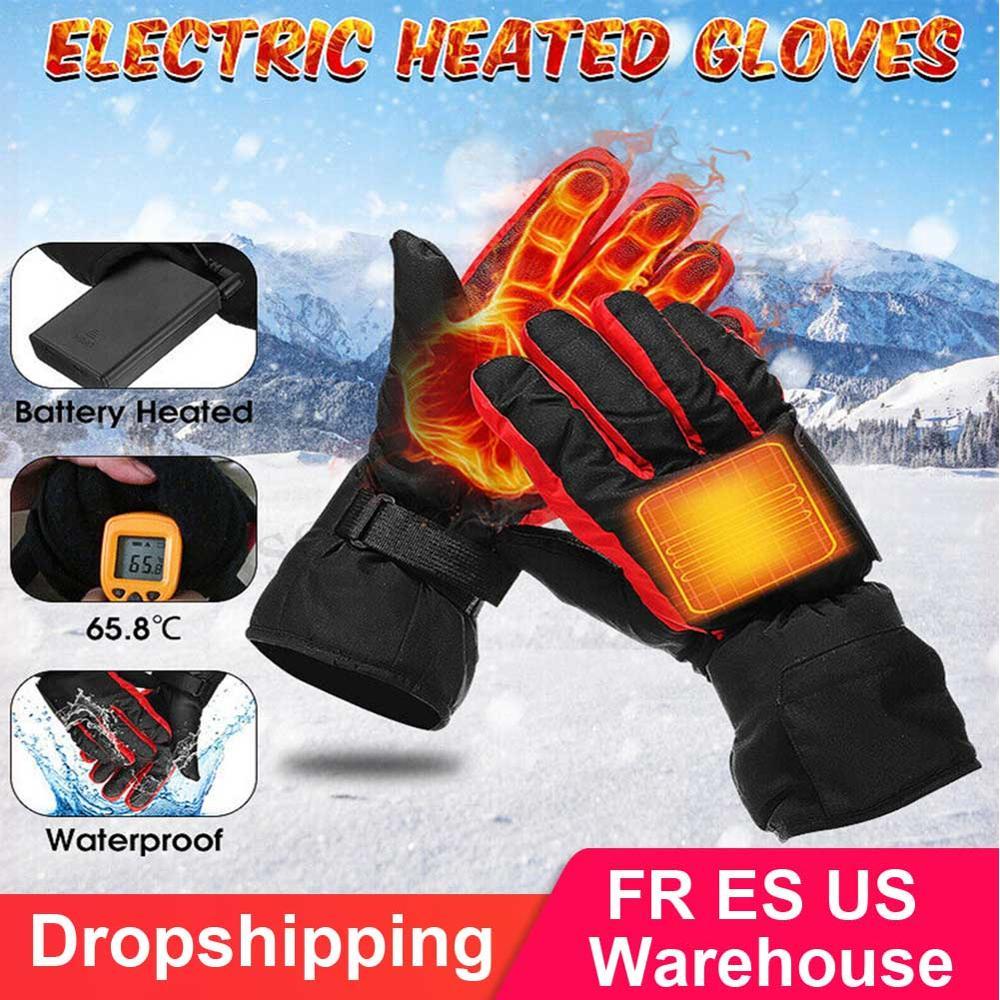 Outdoor Sport Winter Heated Ski Gloves Waterproof Electric Ski Motorcycle  Battery Carbon Fiber Hand Warm Heating Gloves