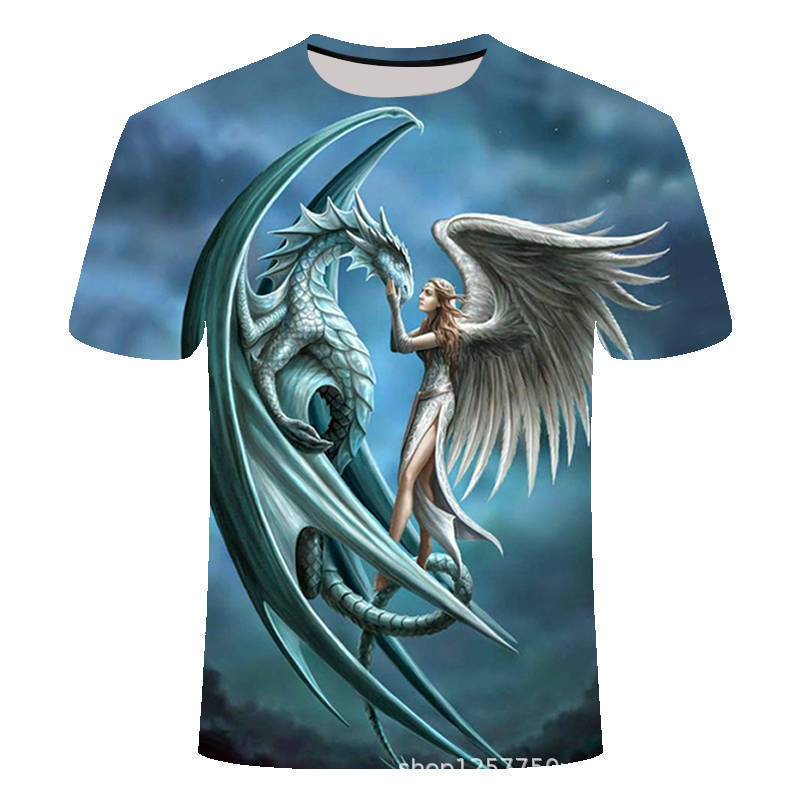 3d Man Leisure Time Short Sleeve T shirt The Angel Monsters tshirt streetwear t shirt summer top Creative mens tee in T Shirts from Men 39 s Clothing