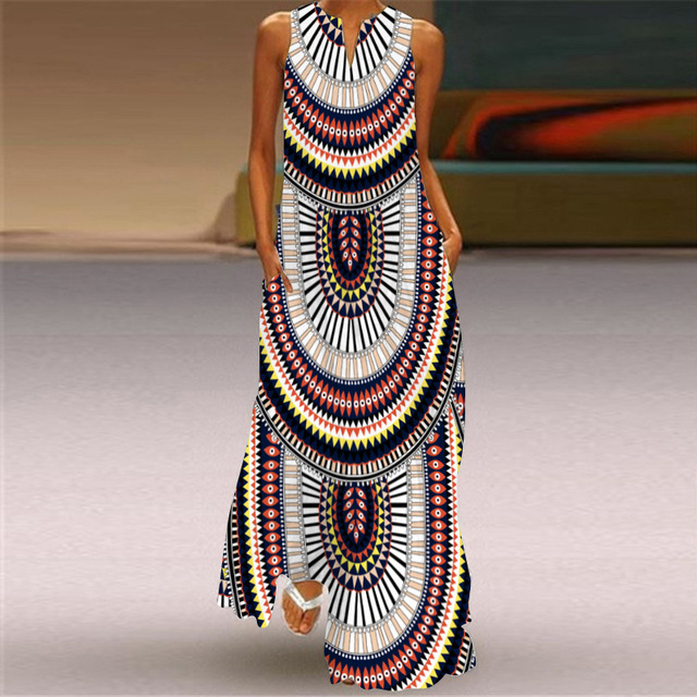 WAYOFLOVE Tiger Printed Dress 2021 Vintage V Neck Casual Breathable Long Dresses Summer Woman Sleeveless Beach Maxi Dress Women 2