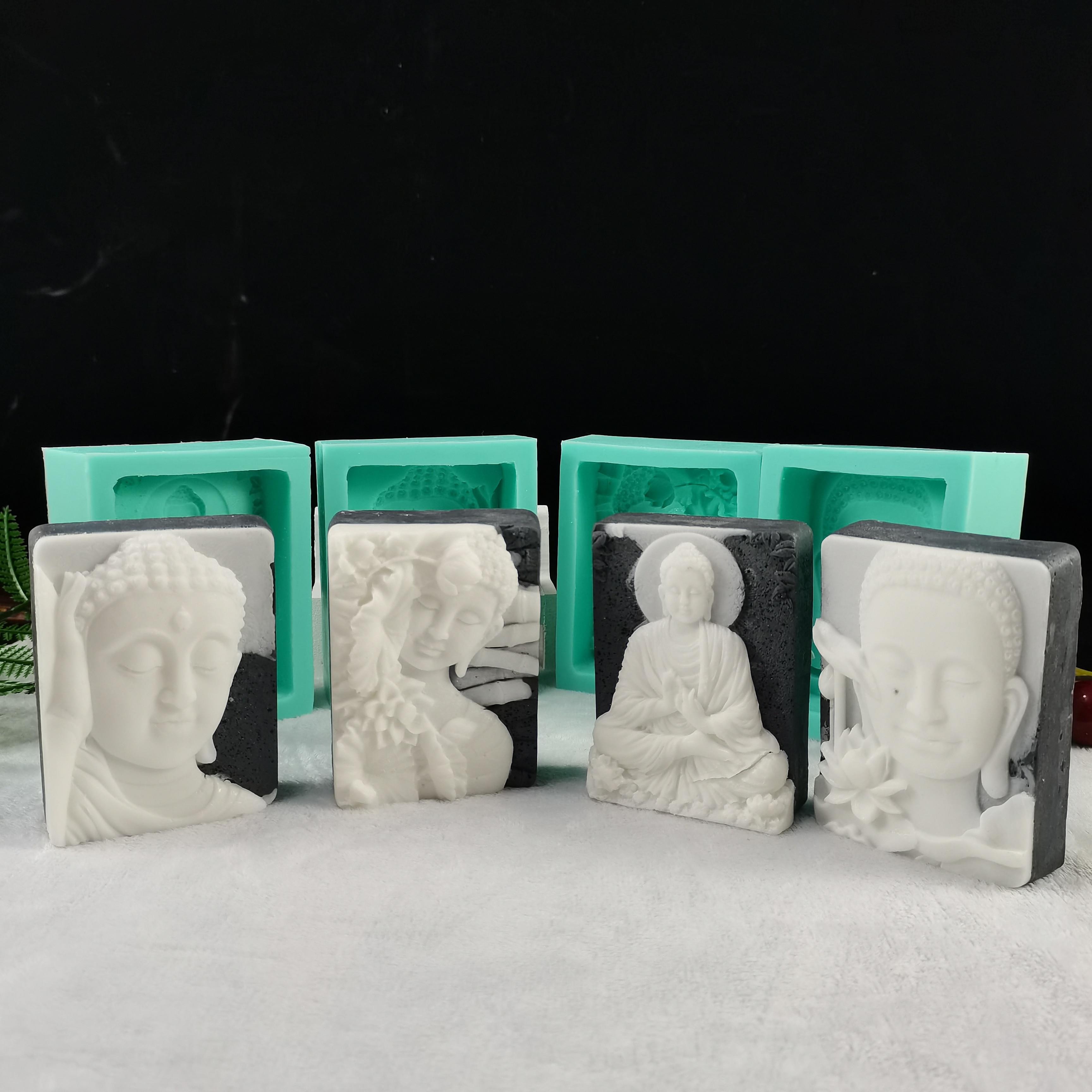 2D Silicone Buddha Mold Handmade  gypsum Buddha Statue Plaster Soap Mould DIY Home Decorative Tool
