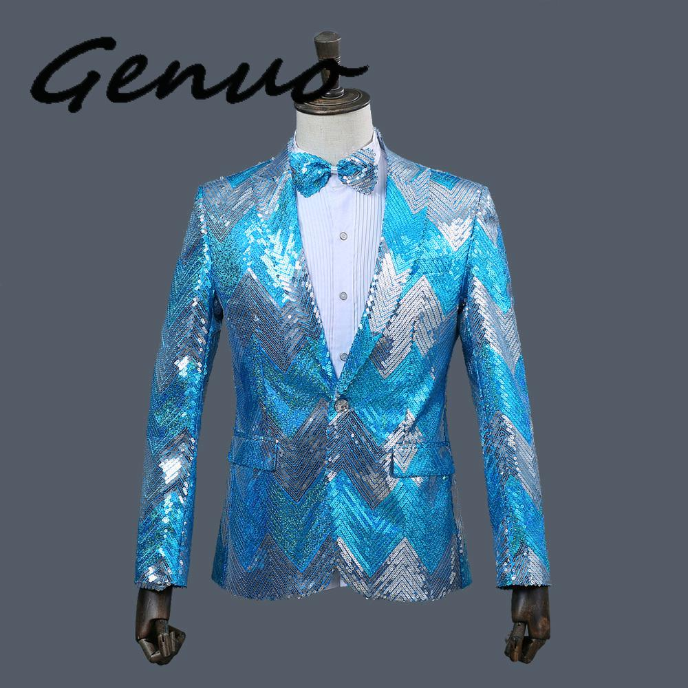 2019 New <font><b>Men</b></font> Gradual Blue <font><b>Green</b></font> <font><b>Sequins</b></font> Shiny Party DJ Singer Stage Show Suit <font><b>Jacket</b></font> Wedding Prom Performance Blazer Design image
