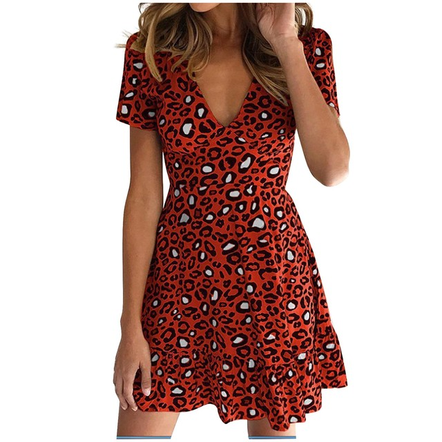 New women's dress fashion sexy V-neck leopard print short sleeve dress different colors available new платье женское 50* 7