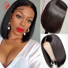 2x6 peruka z krótkim bobem wstępnie oskubane zamknięcie koronki peruka brazylijski proste dziewicze włosy peruka 180% gęstości 10 ~ 14 Cal