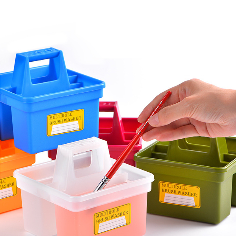 Square Portable Pen Wash Bucket Anti-fall Plastic Painting Pen Wash Container Portable Outdoor Sketching Storage Pen Bucket
