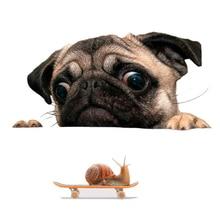 Funny 3D Pug Dogs Watch Snail Car Window Decal Cute Pet Puppy Laptop Sticker PVC Sticker car Decor Accessaries