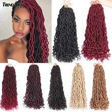 Extensiones de cabello trenzado con ondas degradadas para mujer, pelo largo de ganchillo, pelo sintético, 20 pulgadas