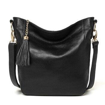 2020 new women's shoulder bag leather square big bag lady messenger bag head layer cowhide casual simple wild tassel woman bag
