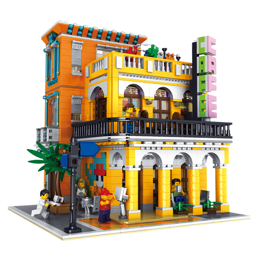 10002 MOC City Creator Cafe Havana Corner Street View Model Modular Building Kits Blocks Bricks The Brickstive Toys For Children